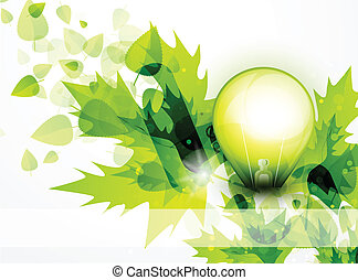 Light bulb and green leaves concept
