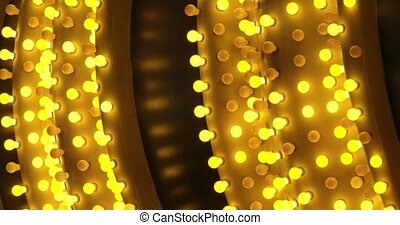 Abstract background closeup of casino sign and lights shimmering in the city of lights