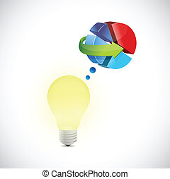 light bulb and pie chart illustration design