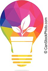 Light bulb and plant in a pot concept logo design.