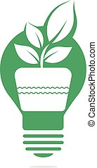Light bulb and plant in a pot concept logo