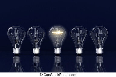 Light bulb and row of lamps on a colour background, idea concept