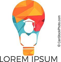 Light Bulb and Student logo design. - Education concept...