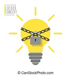Light bulb are bound with chains and locked with a padlock flat vector.