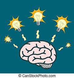 Light bulb around human brain. Vector illustration. - Light ...