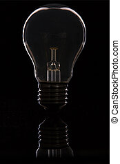 Light bulb back lit macro standing on shiny black surface with reflection