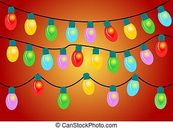 light bulb balls christmas with color background.