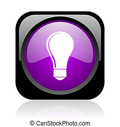 light bulb black and violet square web glossy icon