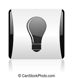 light bulb black and white square web glossy icon
