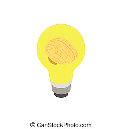Light bulb brain icon, isometric 3d style