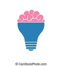Light bulb brain icon, vector illustration