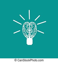 Light bulb brain icon, vector illustration. Flat design style