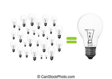 light bulb brainstorming - Many small light bulbs together,...