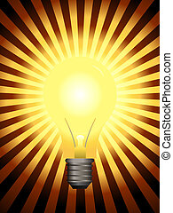 Light Bulb - Bright and glowing light bulb with star burst...