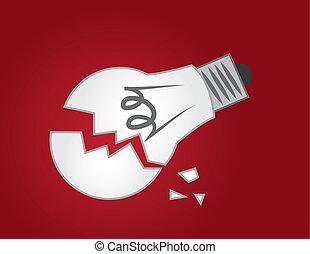 Light Bulb Broken  - Broken light bulb on red background