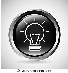 Light bulb button. Silhouette icon design. Vector graphic