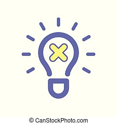 Light bulb cancel idea icon