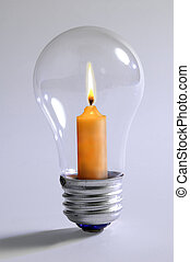 Light bulb with candle inside