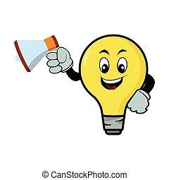 Light bulb cartoon character with megaphone. Design template vector