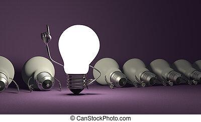 Light bulb character, aha moment on violet - Glowing light...