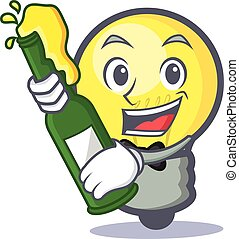 light bulb character cartoon with beer