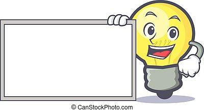 light bulb character cartoon with board