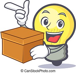 light bulb character cartoon with box
