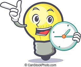 light bulb character cartoon with clock