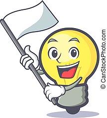 light bulb character cartoon with flag