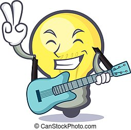 light bulb character cartoon with guitar