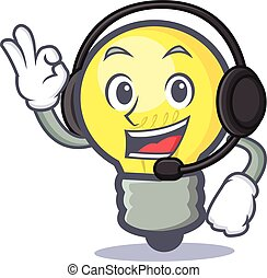 light bulb character cartoon with headphone