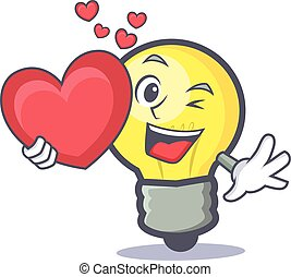 light bulb character cartoon with heart