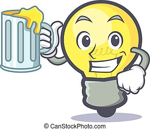 light bulb character cartoon with juice