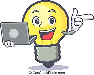 light bulb character cartoon with laptop