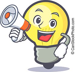 light bulb character cartoon with megaphone