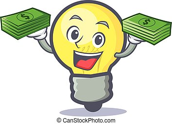 light bulb character cartoon with money