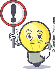 light bulb character cartoon with sign