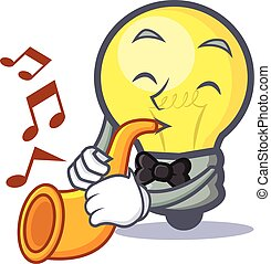 light bulb character cartoon with trumpet