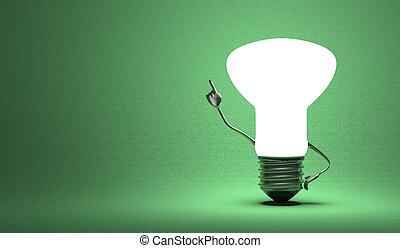 Light bulb character in aha moment - Glowing light bulb...