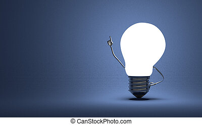 Light bulb character in moment of insight on blue - Glowing ...