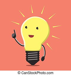 Light bulb character with great new creative idea in aha moment on orange background. Lightbulb, insight, eureka, inspiration concept. Flat style. EPS 8 vector illustration, no transparency