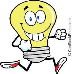 Light Bulb Character Running