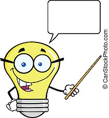 Light Bulb Character With A Pointer