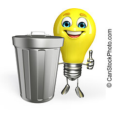 Light Bulb Character with dustbin - Cartoon Character of...