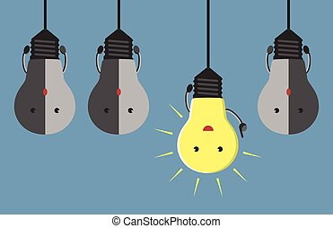 Inspired glowing light bulb character in aha moment hanging among three gray dull ones. EPS 10 vector illustration, no transparency