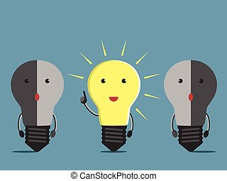 Inspired glowing light bulb character in moment of insight and two confused dull ones. EPS 10 vector illustration, no transparency