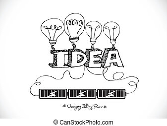 Light bulb Charging Battery Power Idea design