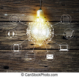 Light bulb circle global and icon customer network connection on wooden background, Omni Channel or Multi channel