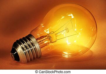 Close-up of a glowing light bulb. Symbol of idea.
