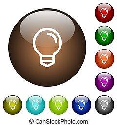 Light bulb color glass buttons
